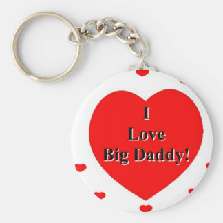 I Love Big Daddy Hearts by A. Celeste Sheffey Basic Round Button Key Ring