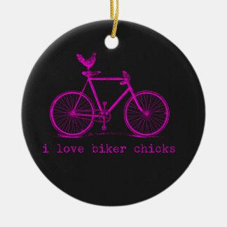 I love Biker Chicks Funny Chicken Christmas Ornament