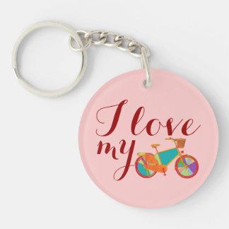I love bikes Single-Sided round acrylic key ring