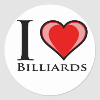 I Love Billiards Classic Round Sticker