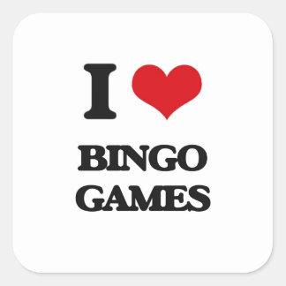 I Love Bingo Games Square Stickers
