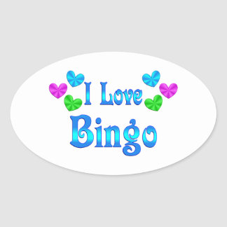 I Love Bingo Oval Sticker