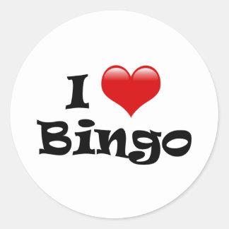 I Love Bingo Round Sticker