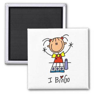 I Love Bingo Square Magnet