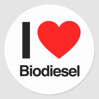 i love biodiesel round stickers