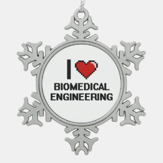 I Love Biomedical Engineering Digital Design Snowflake Pewter Christmas Ornament
