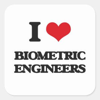 I love Biometric Engineers Square Stickers