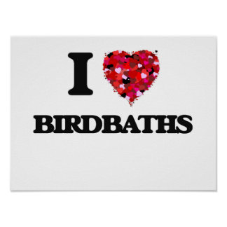 I Love Birdbaths Poster