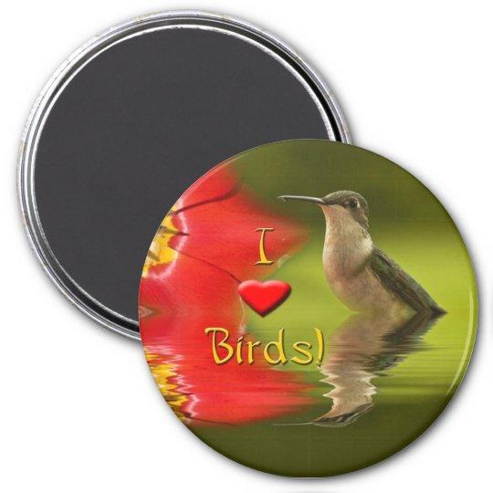 I Love Birds 7.5 Cm Round Magnet