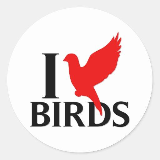 I Love Birds Round Stickers