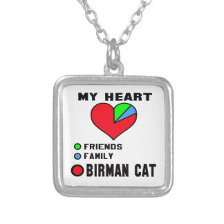 I love Birman. Square Pendant Necklace
