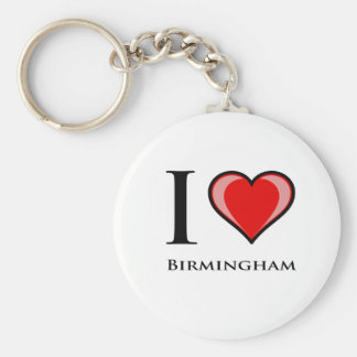 I Love Birmingham Basic Round Button Key Ring