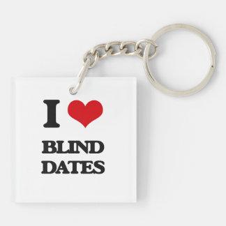 I Love Blind Dates Square Acrylic Keychain