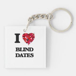 I Love Blind Dates Double-Sided Square Acrylic Key Ring