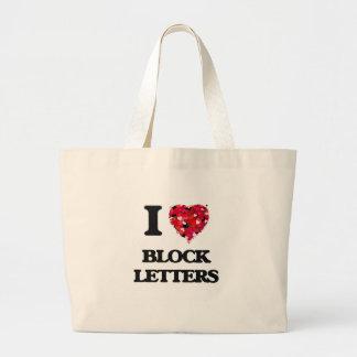 I Love Block Letters Jumbo Tote Bag