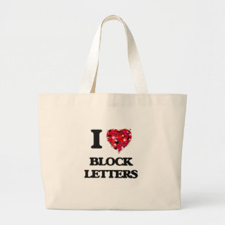 I Love Block Letters Jumbo Tote Bag
