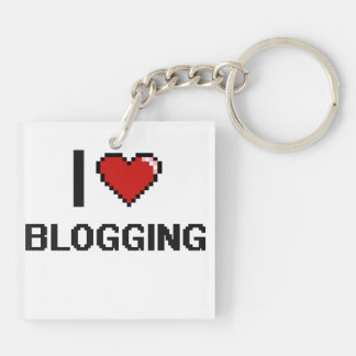 I Love Blogging Digital Retro Design Double-Sided Square Acrylic Key Ring