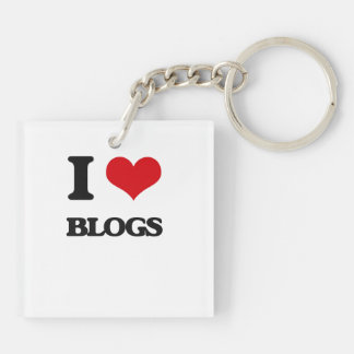 I love Blogs Double-Sided Square Acrylic Keychain