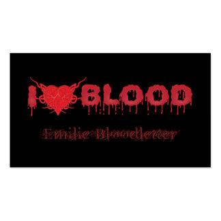 I Love Blood Pack Of Standard Business Cards