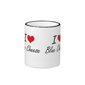 I Love Blue Cheese Artistic Design Ringer Mug
