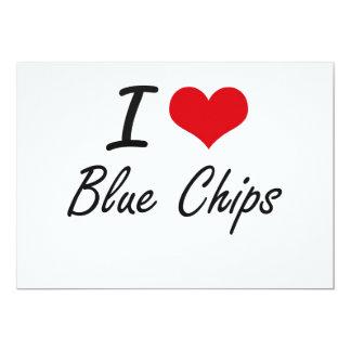 I Love Blue Chips Artistic Design 13 Cm X 18 Cm Invitation Card