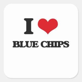 I Love Blue Chips Square Sticker