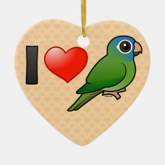 I Love Blue-crowned Conures Ceramic Heart Decoration