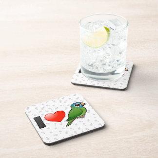 I Love Blue-crowned Conures Beverage Coasters