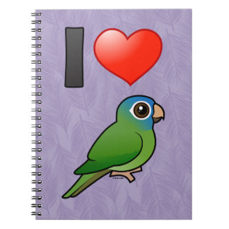 I Love Blue-crowned Conures Spiral Notebook