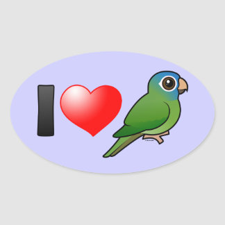 I Love Blue-crowned Conures Oval Sticker