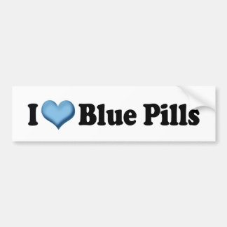 I Love Blue Pills Bumper Sticker