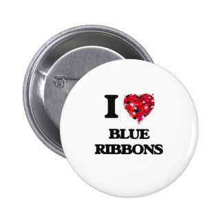 I Love Blue Ribbons 6 Cm Round Badge