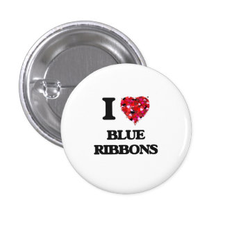 I Love Blue Ribbons 3 Cm Round Badge