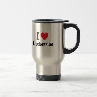 I love Blueberries heart T-Shirt Travel Mug