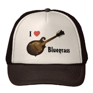 """I Love Bluegrass"" Trucker Hat adjustable (TAN and"