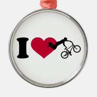 I love BMX Silver-Colored Round Decoration