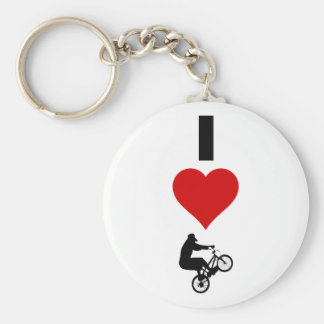 I Love BMX (Vertical) Basic Round Button Key Ring