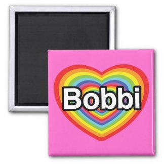 I love Bobbi: rainbow heart Fridge Magnets
