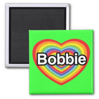 I love Bobbie: rainbow heart Square Magnet