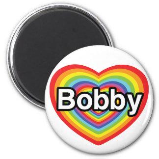 I love Bobby: rainbow heart Fridge Magnet