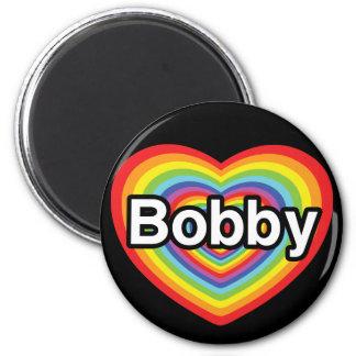 I love Bobby: rainbow heart 6 Cm Round Magnet