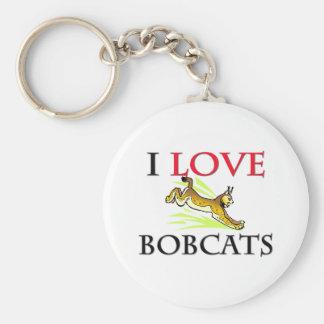 I Love Bobcats Basic Round Button Key Ring
