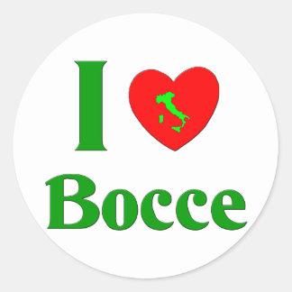 I Love Bocce Round Sticker