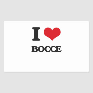I Love Bocce Rectangle Sticker