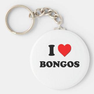 I Love Bongos Basic Round Button Key Ring