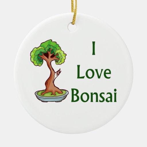 I love bonsai in green text shari tree graphi christmas ornament