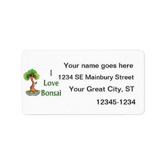 I love bonsai in green text shari tree graphi address label