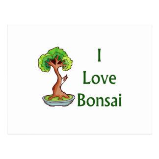 I love bonsai in green text shari tree graphi postcard