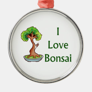 I love bonsai in green text shari tree graphi Silver-Colored round decoration