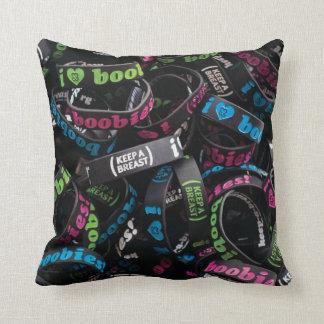 "i love boobies! ""Bracelet Party"" Throw Pillow- Blk Throw Cushion"